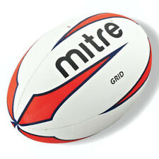 New Mitre Grid Rugby Training Ball Red Blue White UK