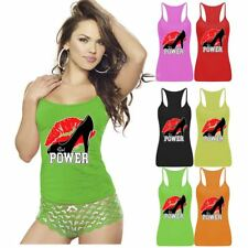 Ladies Womens Girl Kiss Power Printed Vest Top Sports Strappy RacerBack Gym