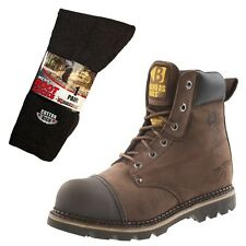 Buckler B301SM Anti-Scuff Safety Boots Brown (Sizes 6-13) & 1 Pair of Socks