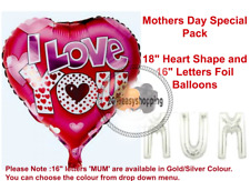 """18"""" Heart Shape Foil Balloons Baloon Mothers Day Special Pack 16"""" Letter 'MUM'"""