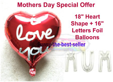 """18"""" Heart Shape Foil Balloons for Mothers Day Celebration I love You Mum baloons"""