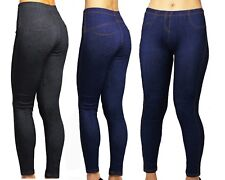 New Women's Ladies Plus Size Stretchy Denim Look Skinny Jeggings Leggings 8-28
