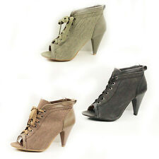 WOMENS PEEP TOE HIGH HEEL ANKLE CANVAS BOOTS BOOTIES LADIES SHOES NEW SIZE 3-8