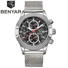 BENYAR 316L Mesh Stainless Steel Strap Men Pilot Quartz Wrist Watches Gift Box