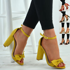 New Womens Ladies Bow Sandals Ankle Strap Peep Toe High Block Heels Shoes