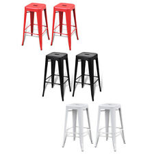 New Steel Bar Chair High Chair Stool Bar Furniture Square 2pcs White/Black/Red