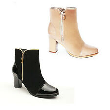 WOMENS LADIES CHELSEA STYLE MID HIGH BLOCK HEEL ANKLE BOOTS SHOES SIZE 3-8