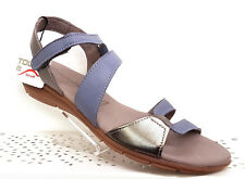 TAMARIS DENIM PEWTER ALL LEATHER SANDALS MEMORY FOAM INSOLE LEATHER LINED BNIB