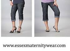 Cropped Summer Maternity Trousers Size 10 - 16 Blue or Black