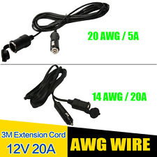 WOW - 3M Voiture Prise Allume Cigare Rallonge câble alimentation 14AWG 20AWG 12V