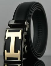 Mens H Letter  Buckle Automatic Leather Ratchet Casual Fashion Buckle Belt