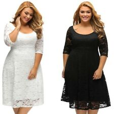New Elegant Large Plus Size Dress White Floral Lace Sleeved Women Lady Dress