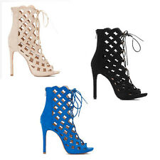 WOMENS LACE UP PEEP TOE HIGH HEEL ANKLE SANDALS BOOTS LADIES SHOES NEW SIZE 2-7