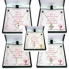 Sterling Silver Cross Necklaces. First Holy Communion Gifts for Girls.
