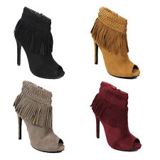 WOMENS CASUAL HIGH HEEL PEEP TOE TASSEL FRINGE ANKLE BOOTS LADIES SHOES SIZE 3-7