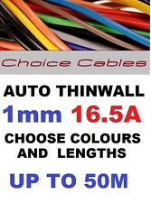 1.0MM AUTO CABLE, 12/24V THINWALL BLUE TRACER STRIPED CAR BOAT WIRE 16.5 AMP