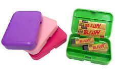 RAW SINGLE WIDE PAPERS FILTER TIPS ROACHES PLASTIC TOBACCO STASH STORAGE BOX