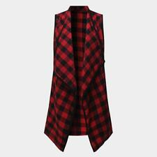 Waistcoat Vest Coat Colete Plaid Checks Sleeveless Jacket Casual Open Cardigan O