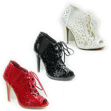 WOMENS HIGH HEEL LACE UP PEEP TOE ANKLE BOOTS SANDALS LADIES SHOES NEW SIZE 3-8