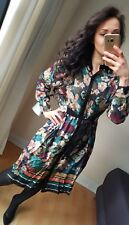 NEW ZARA SHIRT TUNIC FLORAL LONG SLEEVES MIDI DRESS WITH BELT BOW SIZE M S 8 10
