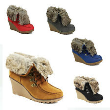 WOMENS WEDGE HEEL LACE UP FOLD OVER FUR COLLAR ANKLE BOOTS LADIES SHOES SIZE 3-8