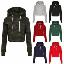 New Ladies Crop Hoodie Women Pull Over Plain Casual Short Hooded Sweat Shirt Top