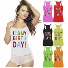 Ladies Womens Its My Birth Day Print Vest Top Sports Wear Strappy RacerBack