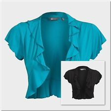 Bolero Ladies Women's Short Sleeve Frill Bolero Top MIA MODA