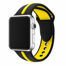 For Apple Watch Series 1 / 2 / 3 Band Strap Bracelet Replacement New Blk-Yellow