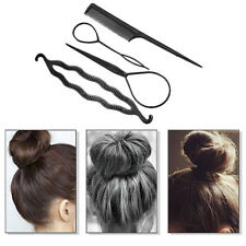 4Pcs Set Styling Clip Bun Maker Hair Twist Braid Ponytail Tool Accessories-BLACK