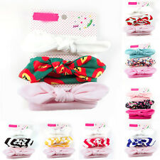 3X Newborn Headband Cotton Elastic Baby Print Floral Hair Band Girls Bow-Knot NE