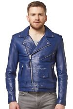 BRANDO Men's Classic Jacket BLUE Biker Designer Fitted Real Lambskin Leather MBF