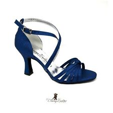 SCARPA DA BALLO DONNA SALSA LATINO TANGO IN RASO LUXURY BLUETTE TACCO 7 CM