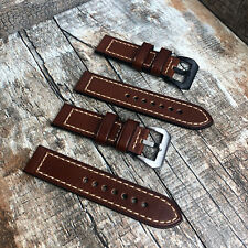 Thick Brown Leather Watch Strap Band Pre-v Buckle for Panerai 20mm 22m 24mm 26mm