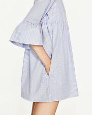 ZARA JOIN LIFE Organic Poplin Blue Striped Jumpsuit Dress Ruffle Sleeves XS S M