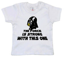 "DARTH VADER T-SHIRT Bebè "" The Force Is FORTE "" Divertente Star Wars VESTITI"