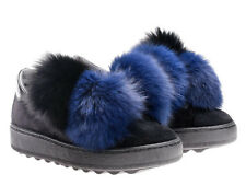 Philippe Model fashion trainers shoes in black suede leather and fur