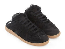 Maison Margiela women's Replica lace up slippers trainers in black suede leather