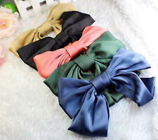 Women Lady Girl Satin Silky feel Ribbon School big Bow Hair Head Barrette Clip