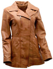 Women's Tan Nappa Leather Long Biker Jacket with Belt