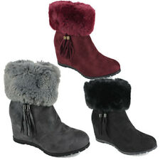 WOMENS WARM FUR LINED COLLAR TASSEL HIDDEN WEDGE HEEL ANKLE BOOTS NEW SIZE 3-8