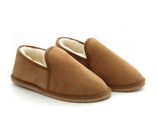 Men's Genuine Sheepskin Moccasin Slippers Non-slip sole up to size UK14