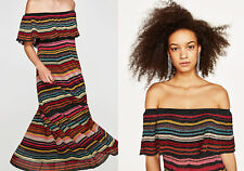 ZARA Premium Knit Multicoloured Stripe Long Frill Shimmery Dress S M L BNWT