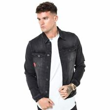 11 DEGREES MEN'S SKINNY DENIM JACKET WASHED BLACK