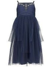 Monsoon VESTITO BAMBINA Micucci blu navy Party Damigella d'ONORE , matrimonio
