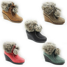 WOMENS WINTER WEDGE HEEL POM POM FUR LINED ANKLE BOOTS LADIES SHOES NEW SIZE 3-8