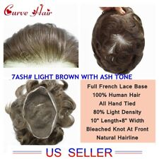 Full Lace Mens Toupee All French Lace Male Human Hair Replacement System For Men
