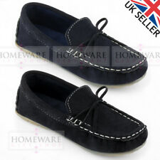 BOYS SPANISH STYLE MOCCASIN LOAFER SLIP ON FAUX SUEDE SHOE SIZE UK12-3 KIDS NEW