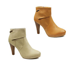 WOMENS PLATFORM HIGH BLOCK HEEL ZIP UP ANKLE BOOTS BOOTIES LADIES SHOES SIZE 2-7