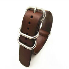 1Pcs High Quality 18Mm 20Mm 22Mm Nato Strap Genuine Leather Dark Coffee Color Wa